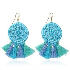 Jewelry - New!  Boho Aqua/Blue/Mint Spiral Fringe Earrings